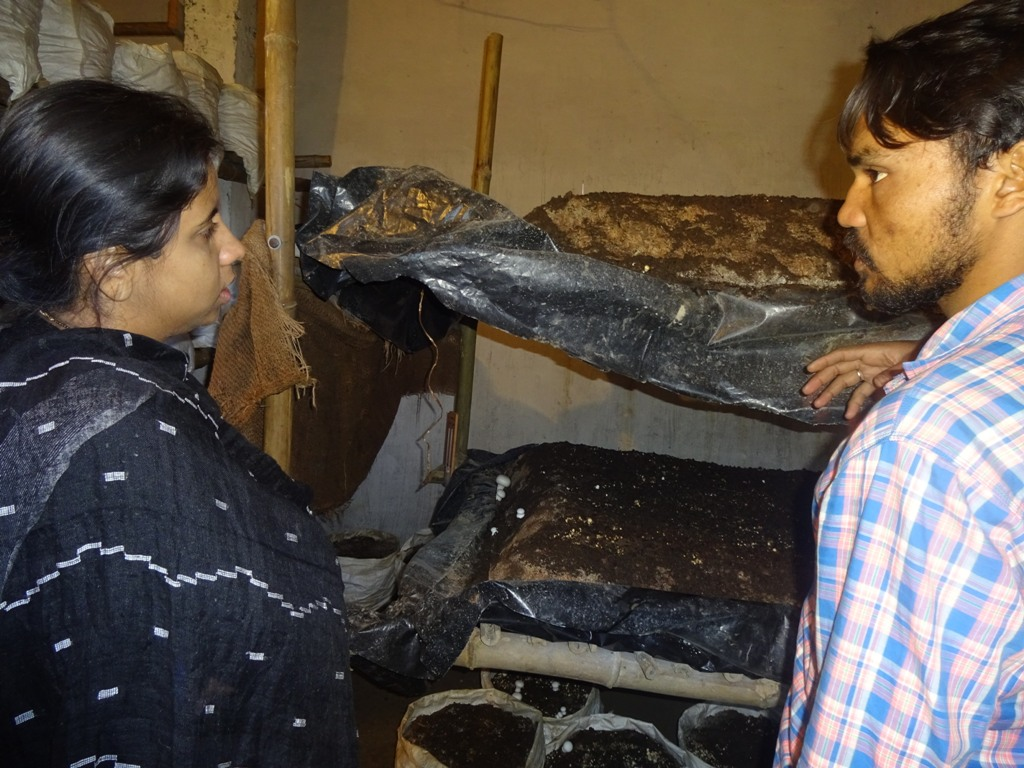 किसान से जानकारी लेतीं डीएम इवा श्रीवास्तव